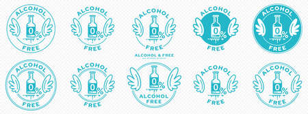 A set of conceptual stamps for packaging products. Labeling - alcohol free. A round stamp with wings. A symbol of liberation, freedom. Bottle flat icon with a line of outflowing ingredient. Vector grouped elements. Vecteurs