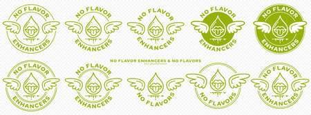 Conceptual marks for product packaging. Labeling - no flavor enhancers. The brand with wings is a symbol of the liberated, free. Ingredient drop icon with mouth symbol of taste. Vector
