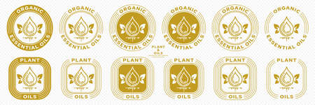 Conceptual stamps for product packaging. Marking - essential oil. Butter potassium with natural leaf-wings is a symbol of the natural flight of ingredients in the composition. Vector