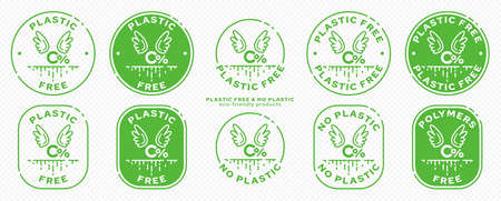 A set of conceptual stamps for packaging products. Marking - no plastic. Stamp - zero percent with wings - a symbol of free. The current line is the symbol for absorbable, biodegradable products. Vector