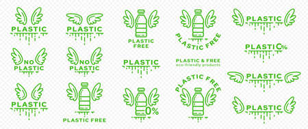A set of icons for packaging products. Marking - no plastic. Plastic bottle with wings and line of absorbable biodegradable product. Free symbol from ingredient. Vector Illustration
