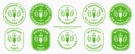 Conceptual stamps for product packaging. Labeling - Hormone Free. A syringe with wings - a symbol of hormone-free. Vector grouped elements. Illustration