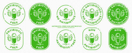 Conceptual stamps for product packaging. Labeling - no antibiotics. A capsule with wings - a symbol of drug-free. Vector grouped elements.