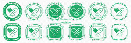 Concept for product packaging. Labeling - no hormones or antibiotics. A stamp with an open capsule badge, poured medication and a line of flowing ingredient - a symbol of freedom. Vector set. Ilustración de vector