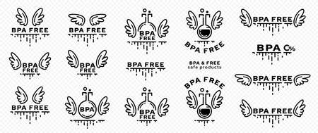 Concept for plastic products. Marking - no bisphenol A. Chemical flask icon with wings, BPA abbreviation and a line of flowing ingredient - a symbol of freedom. Vector set.