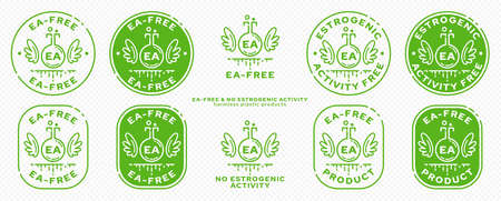 Concept for plastic products. Labeling - no estrogenic activity. The chemical flask icon with wings, EA abbreviation and a flowing ingredient line is a symbol of freedom. Vector set.