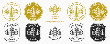 Set of conceptual stamps for packaging products. Labeled - Gluten Free, Grain Protein Free. Round stamp with a flat spikelet icon and wings - a symbol of liberation, freedom. Vector grouped elements. Illustration