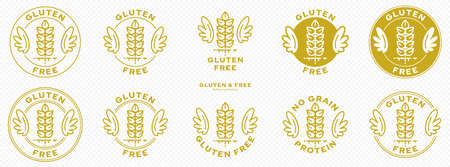 A set of conceptual stamps for packaging products. Labeling - gluten free. A stamp with wings is a symbol of liberation, freedom. Cereal spikelet flat icon and flowing ingredient line. Vector Illustration