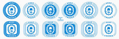 Concept for product packaging. Marking - keep frozen and frozen product. The icon of the lock closing the ice is a symbol of the storage of frozen products. Vector set.