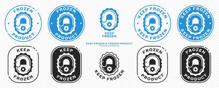 Concept for product packaging. Marking - keep frozen and frozen product. The snowflake icon is a symbol of cold of products. Vector set.