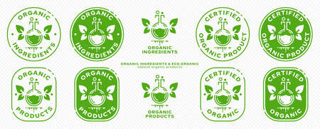 Conceptual marks for product packaging. Labeling - organic ingredients. The brand with the flask, with the winged leaves and the line of the ingredient is the natural flight of the ingredient. Vector