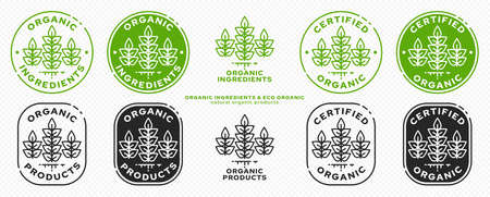 Concept for product packaging. Labeling - natural organic certified products. Plant icon with liquid line - symbol of natural products. Vector set.