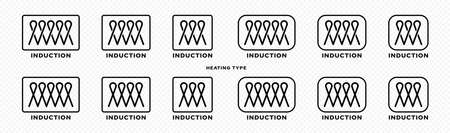 Product packaging concept. Marking is an induction type of heating. Flat induction symbol in a frame for kitchen utensils, accessories and household appliances. Vector elements. Vector Illustratie