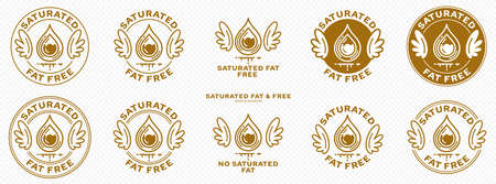 Concept for product packaging. Labeled - Saturated Fat Free. Stamp with wings and a bold drop of saturated fat - a symbol of freedom from the ingredient. Vector set. Vecteurs