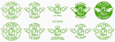 Concept for plastic products. Labeling - no estrogenic activity. A plastic EA bottle with wings and a flowing line - a symbol of freedom from estrogenic activity. Vector grouped elements.