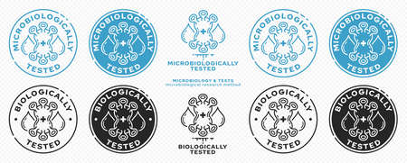Concept for product packaging. Marking - microbiologically and biologically protected. Micromolecule with text drops. Vector elements.