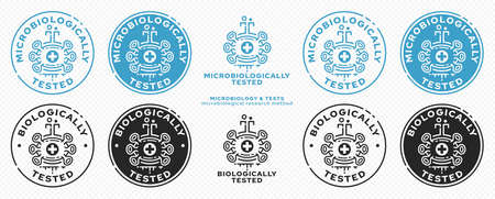 Concept for product packaging. Marking - microbiologically and biologically protected. A micromolecule with a scientific laboratory flask is a symbol of scientific research. Vector elements. Vektoros illusztráció