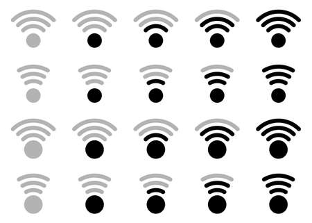 Wireless network icon set - wi fi. Web signs for electronic devices, applications and other resources. Vector isolated elements.