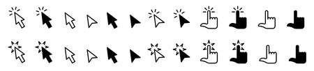 Pointer cursor � computer mouse icon. Clicking cursor, pointing hand clicks icons. Click cursor. Vector illustration. Stock Illustratie
