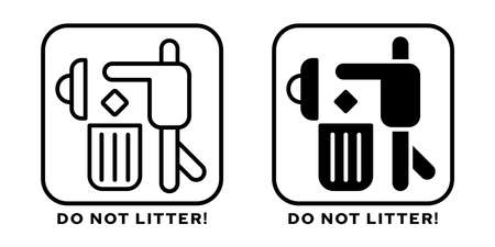 Product packaging labeling - Throw away in the trash bin. Sign - Take care of the work of the cleaners. Symbol - Keep your country clean. Sign - Do not litter! Vector elements.