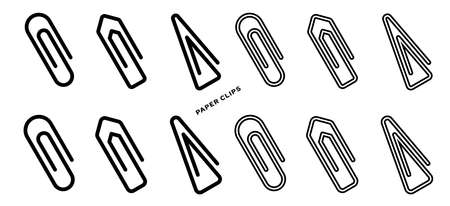Paper clip flat icons set. Vector isolated elements Vettoriali