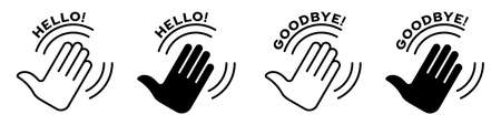 Applause flat icon set. Human clapping hands with clap sound. Vector elements Stock Illustratie