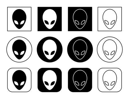 Set icons. Extraterrestrial alien face or head symbol flat icon for apps and websites. Vector illustration. Stock Illustratie