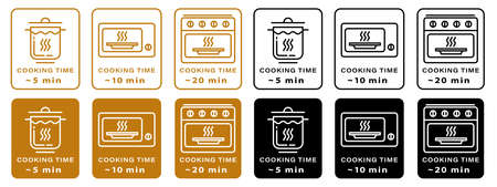 Cooking type and cooking time icon. The cooking time for food in a saucepan, microwave and oven. Instructions for packaging food products. Isolated vector elements.