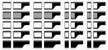 A set of film frames. One frame for creating seamless film and a final frame element with the end of the film. Black-white silhouette of an empty film and with frames. Rounded and straight picture frames. Vector