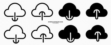 Data loading flat icons set. Downloading and uploading web files. Cloud symbol. Vector elements.