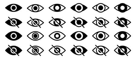 Information sign about delicate content. Conceptual symbols of internet security. Visible or hidden data entry. Broken and open eye icon. Vector elements