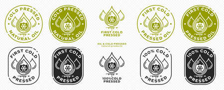 Stamp, sticker - Cold pressed natural oil. Information sign. Vector grouped elements. Stock Illustratie