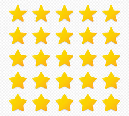 Quality rating symbols. Set of five-pointed yellow stars with shadow isolated on transparent background. Product quality assessment icons. Vector illustration. Stock Illustratie