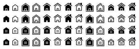 Flat linear design. House icons set. Web-home - go to the main page. Icon for applications, web sites and other internet resources. Vector elements.
