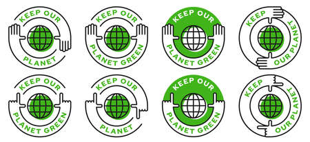 Set of conceptual environmental stamps. Human nature conservation symbol. A call to keep our planet green. Vector elements.