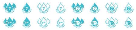 Product packaging sticker. Marking - neutral pH. Liquid drops symbol. Vector elements Stock Illustratie
