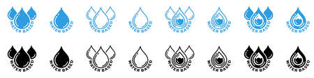 Conceptual stamps for product packaging. Sign - water-based. Information sticker. Vector elements