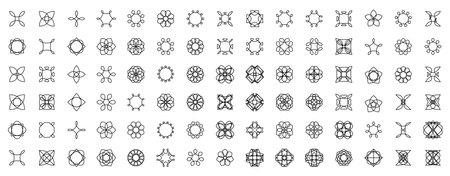 Set of geometric flat decorative elements. Linear patterns. Vector decor.