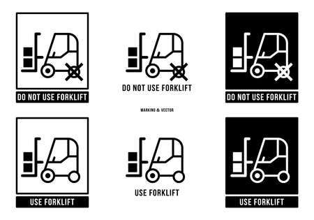 A set of manipulation symbols for packaging products and goods. Marking - Do not use or operate forklift trucks. Vector elements.