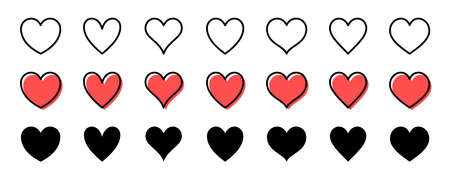 Heart shaped icon set. Red isolated on a white background. Vector illustration. Stock Illustratie