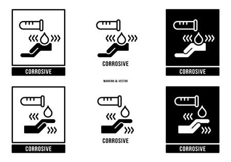 A set of manipulation symbols for packaging cargo products and goods. Marking - Corrosive. Vector elements.