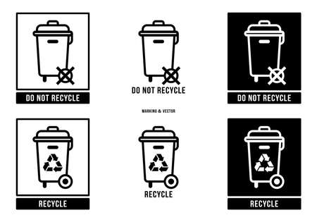 A set of manipulation symbols for packaging products and goods. Marking - Do not throw away! Special disposal required! Marking - Recycle. Vector elements.