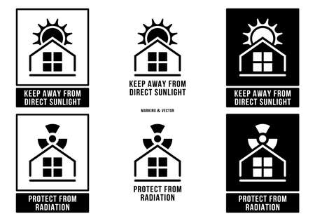 A set of manipulation symbols for packaging products and goods. Marking - Protect from radiation. Marking - Keep away from direct sunlight. Vector elements.