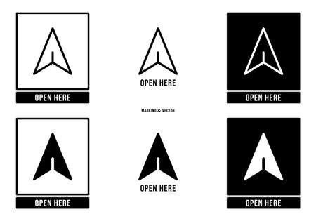 A set of manipulation symbols for packaging products and goods. Marking - Open here. Vector elements.