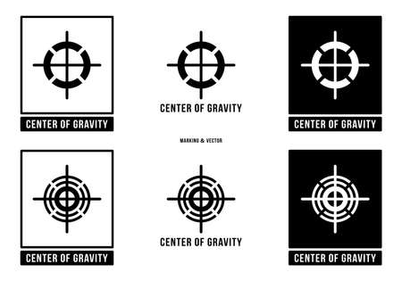 A set of manipulation symbols for packaging cargo products and goods. Marking - Center of gravity. The center of gravity of the load does not coincide with the geometric center of gravity. Vector elements.