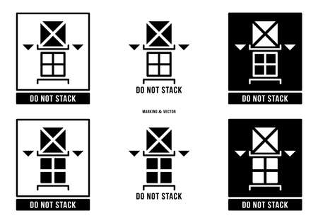 A set of manipulation symbols for packaging cargo products and goods. Marking - Do not stack. Vector elements.