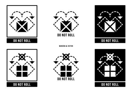 A set of manipulation symbols for packaging cargo products and goods. Marking - Do not roll. Vector elements.