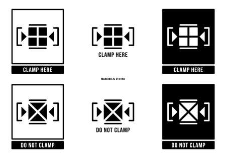 A set of manipulation symbols for packaging cargo products and goods. Marking - Clamp here. Marking - Do not clamp. Vector elements. Stock Illustratie