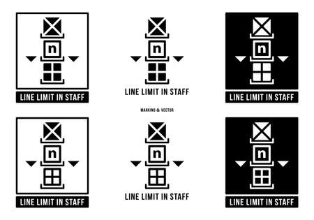 A set of manipulation symbols for packaging cargo products and goods. Marking - Line limit in staff. Limit on the number of stacked tiers. Vector elements.