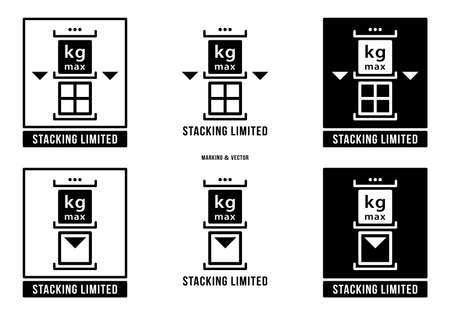 A set of manipulation symbols for packaging cargo products and goods. Marking - Stacking is limited in weight. Vector elements.
